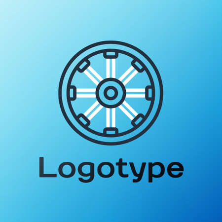 Line Old wooden wheel icon isolated on blue background. Colorful outline concept. Vector