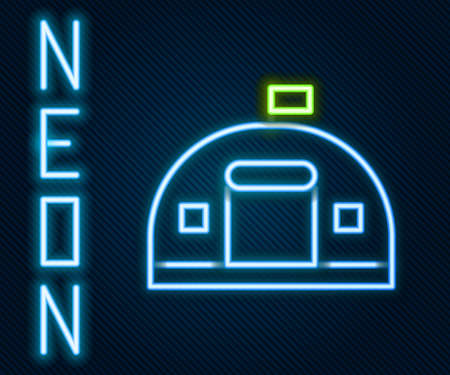 Glowing neon line Military barracks station icon isolated on black background. Airstrikes architecture army. Colorful outline concept. Vector