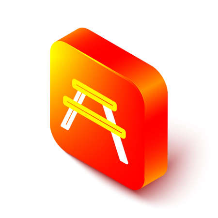 Isometric line Picnic table with benches on either side of the table icon isolated on white background. Orange square button. Vector