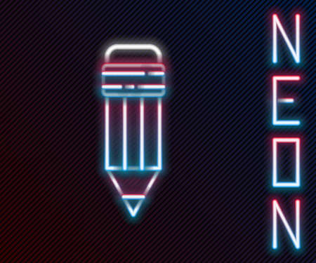 Glowing neon line Pencil with eraser icon isolated on black background. Drawing and educational tools. School office symbol. Colorful outline concept. Vector Illustration 向量圖像