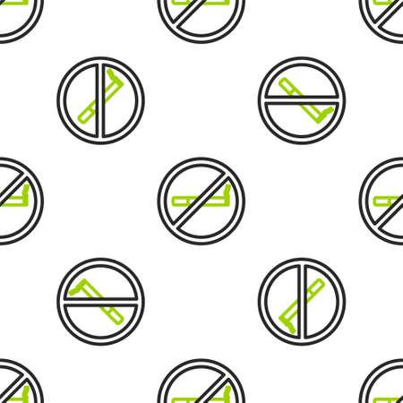 Line No Smoking icon isolated seamless pattern on white background. Cigarette symbol. Vector Illustration Illusztráció