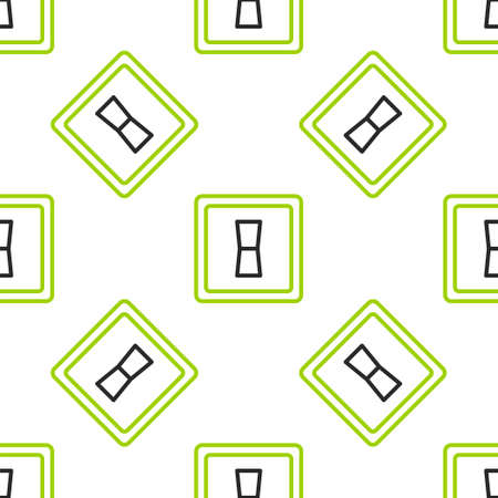 Line Electric light switch icon isolated seamless pattern on white background. On and Off icon. Dimmer light switch sign. Concept of energy saving. Vector Illustration Ilustração