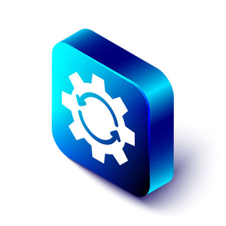Isometric Gear and arrows as workflow concept icon isolated on white background. Gear reload sign. Blue square button. Vector Illustration