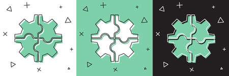 Set Gear icon isolated on white and green, black background. Cogwheel gear settings sign. Cog symbol. Vector Illustration Ilustração