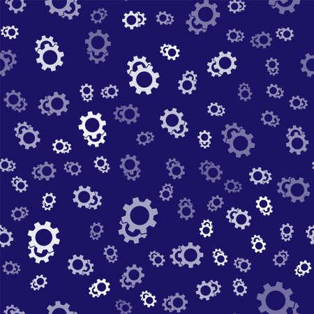 White Gear icon isolated seamless pattern on blue background. Cogwheel gear settings sign. Cog symbol. Vector Illustration Ilustração