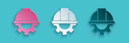 Paper cut Worker safety helmet and gear icon isolated on blue background. Paper art style. Vector Illustration Ilustração