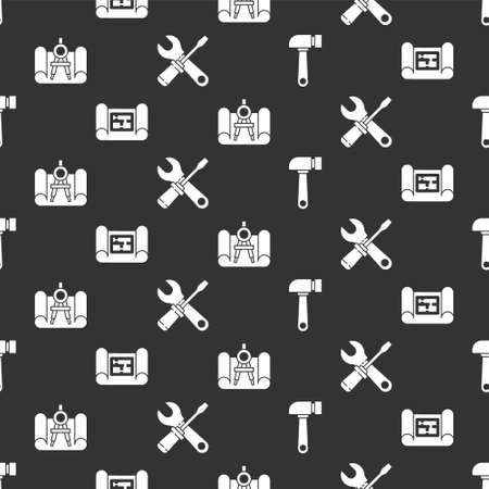 Set Hammer, House plan, Graphing paper and compass and Screwdriver and wrench spanner on seamless pattern. Vector