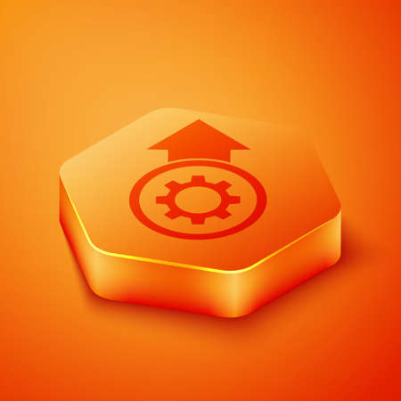 Isometric Gear and arrows as workflow process concept icon isolated on orange background. Gear reload sign. Orange hexagon button. Vector Illustration Ilustração