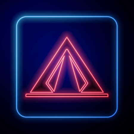 Glowing neon Tourist tent icon isolated on blue background. Camping symbol. Vector Illustration 矢量图像
