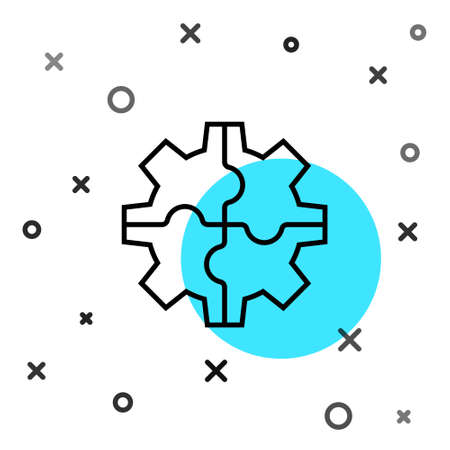 Black line Gear icon isolated on white background. Cogwheel gear settings sign. Cog symbol. Random dynamic shapes. Vector Illustration