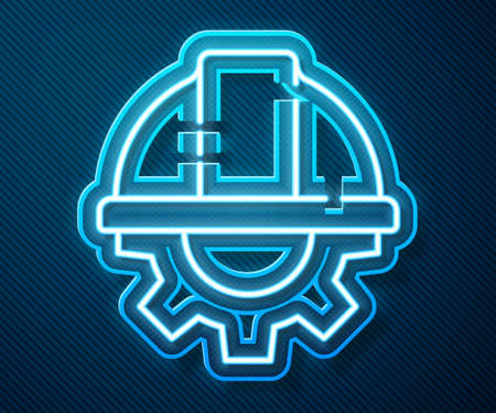 Glowing neon line Worker safety helmet and gear icon isolated on blue background. Vector Illustration