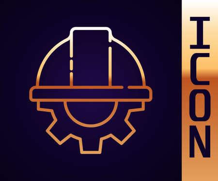 Gold line Worker safety helmet and gear icon isolated on black background. Vector Illustration Ilustração