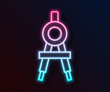Glowing neon line Drawing compass icon isolated on black background. Compasses sign. Drawing and educational tools. Geometric instrument. Vector Illustration