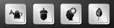 Set Watering can, Acorn, Human head with leaf and Leaf or leaves icon. Silver square button. Vector