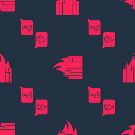 Set Phone with emergency call 911 and Fire in burning buildings on seamless pattern. Vector