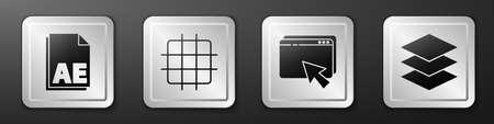Set AE file document, Grid graph paper, Web design and development and Layers icon. Silver square button. Vector