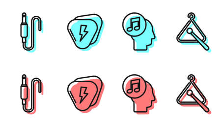 Set line Musical note in human head, Audio jack, Guitar pick and Triangle musical instrument icon. Vector