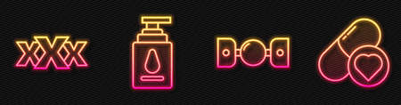 Set line Silicone ball gag with belt, Sex shop, Personal lubricant and Pills for potency, aphrodisiac. Glowing neon icon. Vector