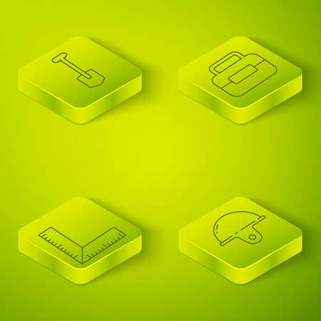 Set Isometric Toolbox, Corner ruler, Worker safety helmet and Shovel icon. Vector