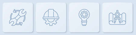 Set line Wrench and arrows as workflow, Light bulb gear, Worker safety helmet and Graphing paper compass. White square button. Vector Ilustração