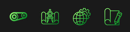Set line Globe of the Earth and gear, Timing belt kit, Graphing paper compass and pencil. Gradient color icons. Vector