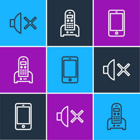 Set line Speaker mute, Smartphone, mobile phone and Telephone icon. Vector