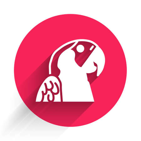 White Macaw parrot bird animal icon isolated with long shadow. Animal symbol. Red circle button. Vector