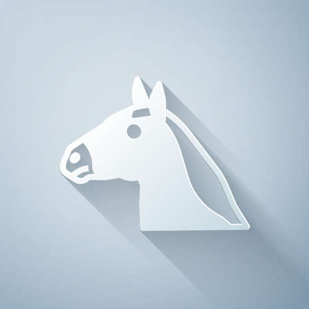 Paper cut Horse head icon isolated on grey background. Animal symbol. Paper art style. Vector