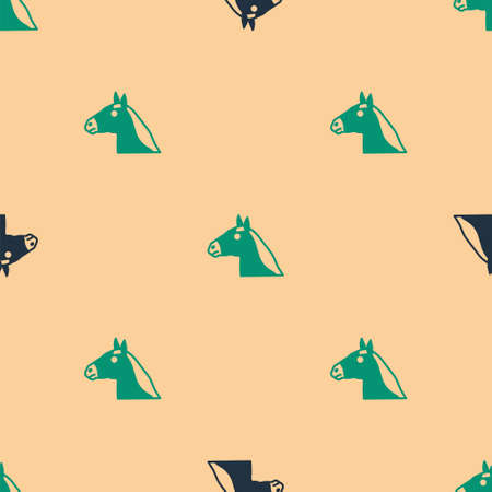 Green and black Horse head icon isolated seamless pattern on beige background. Animal symbol. Vector