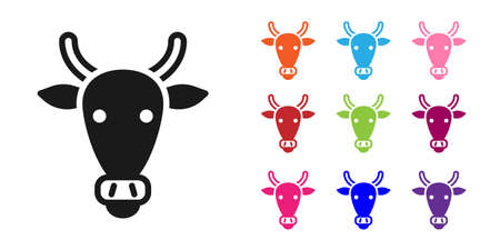 Black Cow head icon isolated on white background. Set icons colorful. Vector