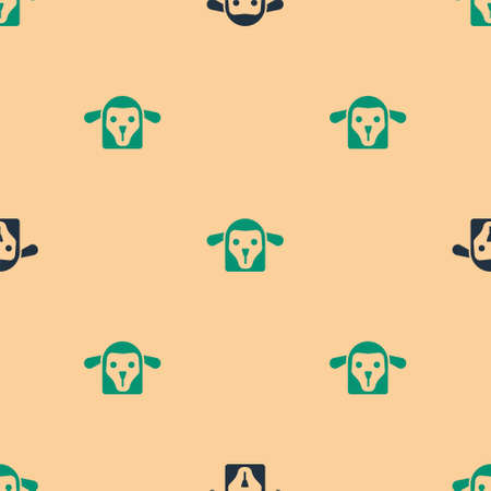 Green and black Sheep head icon isolated seamless pattern on beige background. Animal symbol. Vector Çizim