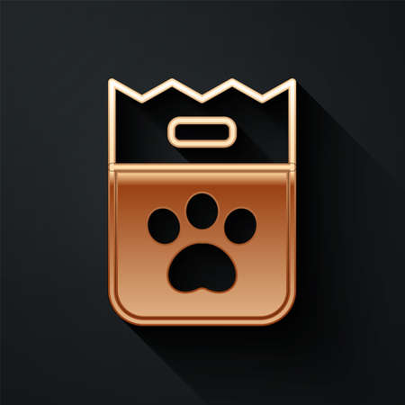 Gold Bag of food for dog icon isolated on black background. Dog paw print. Food for animals. Pet food package. Long shadow style. Vector Çizim
