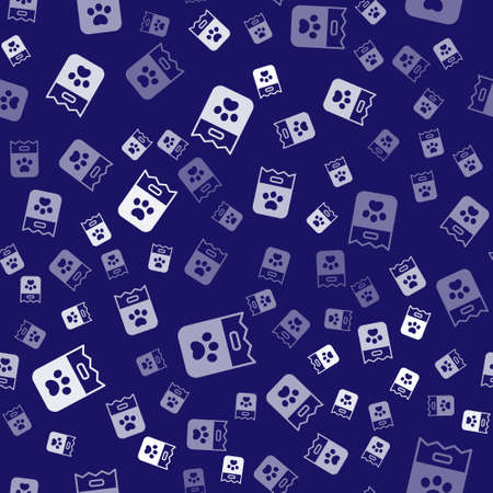 White Bag of food for dog icon isolated seamless pattern on blue background. Dog paw print. Food for animals. Pet food package. Vector