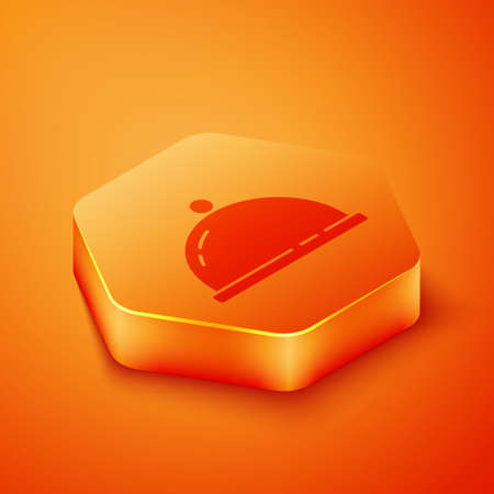 Isometric Covered with a tray of food icon isolated on orange background. Tray and lid sign. Restaurant cloche with lid. Orange hexagon button. Vector 矢量图像