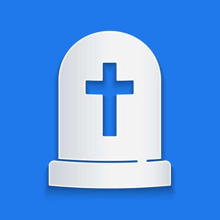 Paper cut Tombstone with cross icon isolated on blue background. Grave icon. Happy Halloween party. Paper art style. Vector Çizim