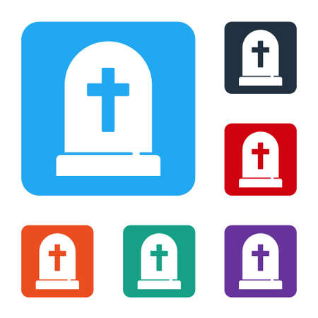 White Tombstone with cross icon isolated on white background. Grave icon. Happy Halloween party. Set icons in color square buttons. Vector