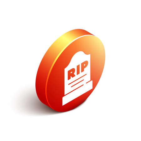 Isometric Tombstone with RIP written on it icon isolated on white background. Grave icon. Orange circle button. Vector