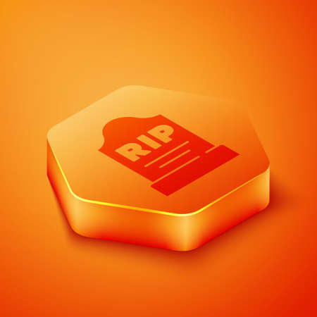 Isometric Tombstone with RIP written on it icon isolated on orange background. Grave icon. Orange hexagon button. Vector
