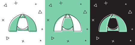 Set Tourist tent icon isolated on white and green, black background. Camping symbol. Vector