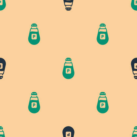 Green and black Pepper icon isolated seamless pattern on beige background. Cooking spices. Vector