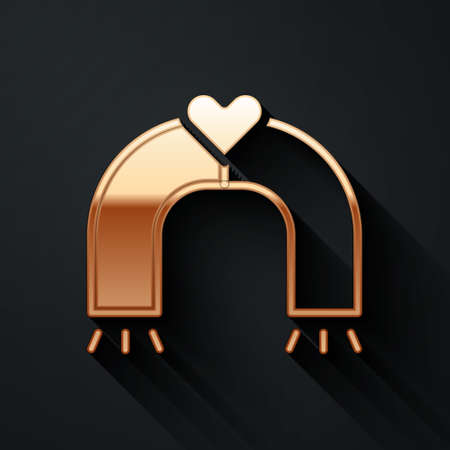 Gold Love magnet icon isolated on black background. Long shadow style. Vector