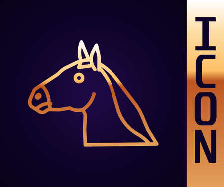 Gold line Horse head icon isolated on black background. Animal symbol. Vector