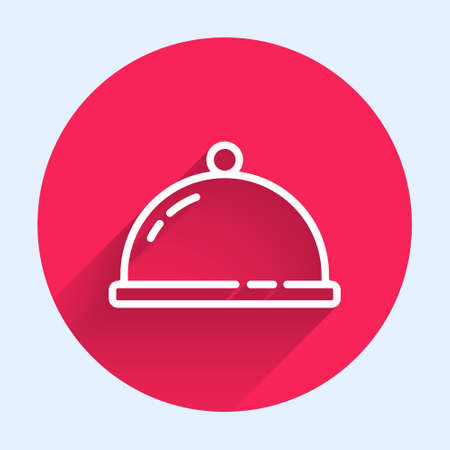 White line Covered with a tray of food icon isolated with long shadow. Tray and lid sign. Restaurant cloche with lid. Red circle button. Vector