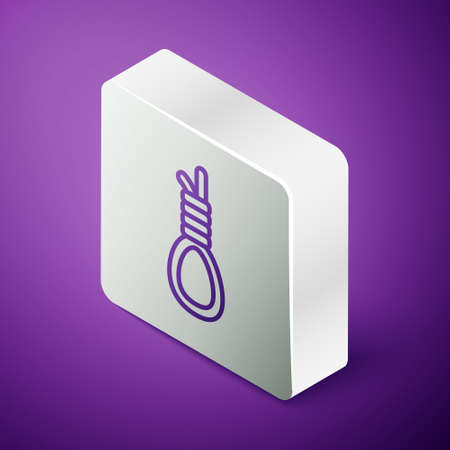 Isometric line Gallows rope loop hanging icon isolated on purple background. Rope tied into noose. Suicide, hanging or lynching. Silver square button. Vector Çizim