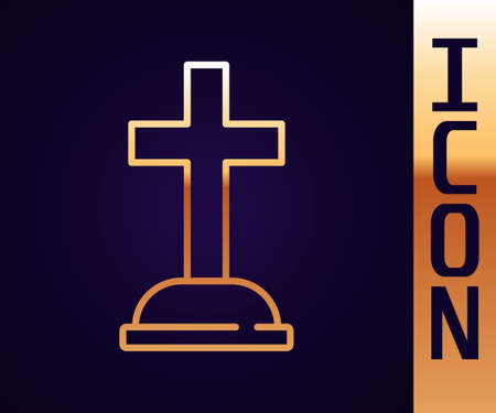 Gold line Tombstone with cross icon isolated on black background. Grave icon. Vector Çizim
