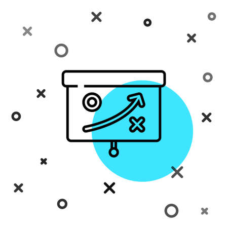 Black line Planning strategy concept icon isolated on white background. Cup formation and tactic. Random dynamic shapes. Vector