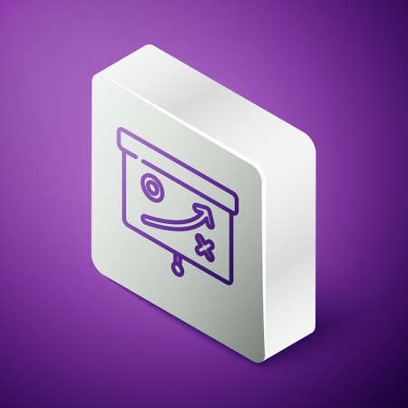 Isometric line Planning strategy concept icon isolated on purple background. Cup formation and tactic. Silver square button. Vector Çizim