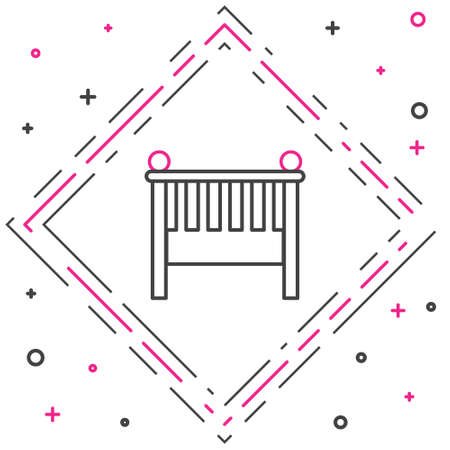 Line Baby crib cradle bed icon isolated on white background. Colorful outline concept. Vector Illustration