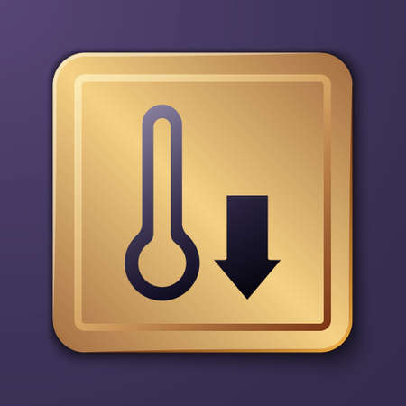 Purple Meteorology thermometer measuring icon isolated on purple background. Thermometer equipment showing hot or cold weather. Gold square button. Vector Illusztráció