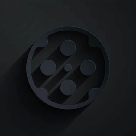 Paper cut Revolver cylinder icon isolated on black background. Paper art style. Vector 矢量图像